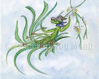 Billy P. Mantis Rides the Wild Spider Plant Print