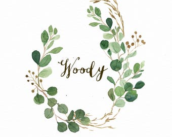 Watercolor oval leaf wreath clip art-Woody/Individual PNG files/Hand Painted/Wedding design