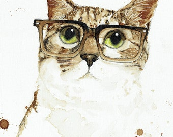 Clark Cat -  painted with coffee