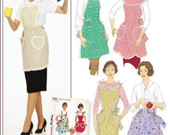 Rare ONE YARD APRON Sewing Pattern - Four Aprons One Main Pattern Piece 5961