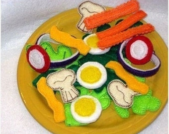 Felt play food - pretend food - play kitchen food - Play food, pretend food felt food salad Salad 22 Piece Set #PF2504