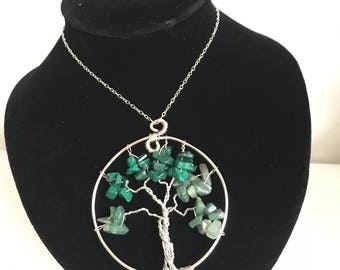 Tree of life pendant made with malachite & agate beads