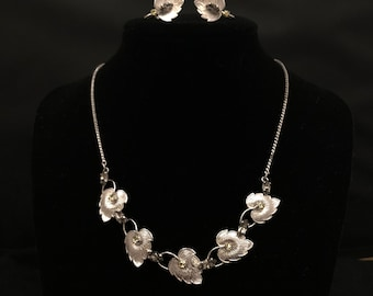 Van Dell Signed Sterling Silver Smokey and Yellow Rhinestone Necklace and Earring Set