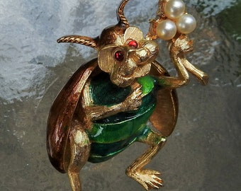 Vintage Mid Century Enameled Beetle Insect Bug with Faux Pearl Bouquet Brooch