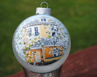 "Custom Home Hand Painted from picture on 4"" Glass Ornament- sold"