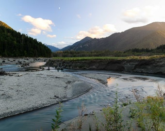 Landscape Elwha River Restoration in Washington State. Sunset Long Exposure