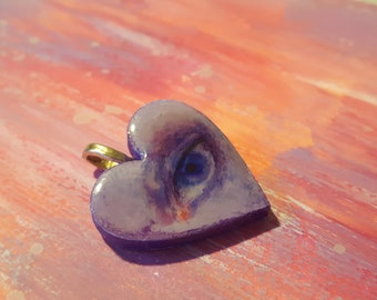 Lilac lovers eye wooden pendant one of a kind