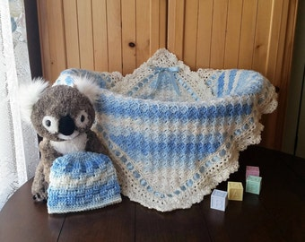 Crochet Baby blanket, Baby Boy Blanket Set, Baby Shower Gift