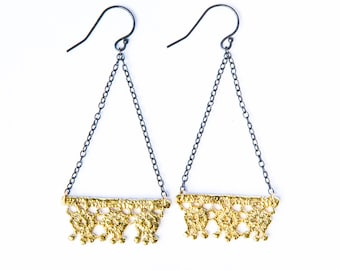 Trianglular geometric cast Lace Earrings in 14k gold plate and blackened silver chains