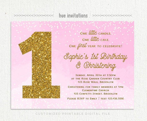1st birthday christening invitation for baby girl pink stopboris Image collections
