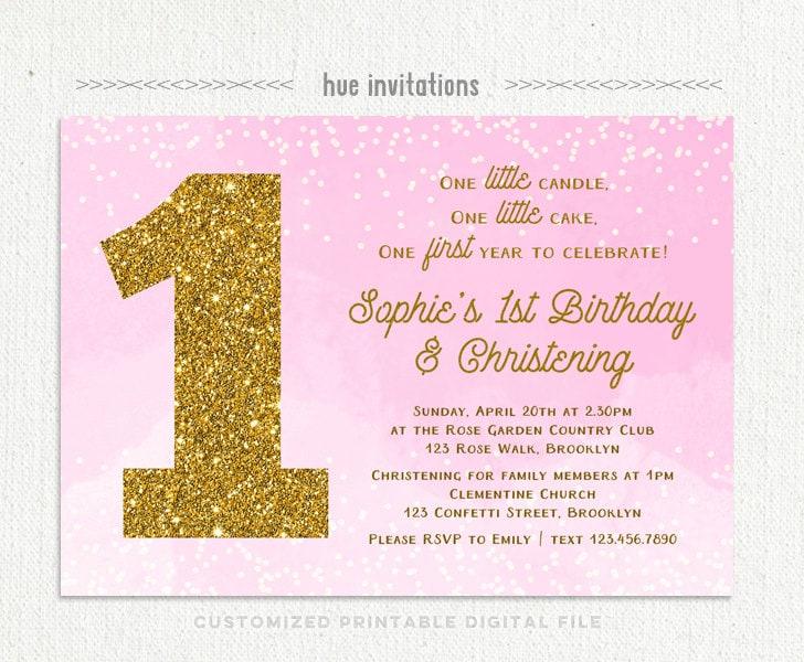 1st birthday christening invitation for baby girl pink