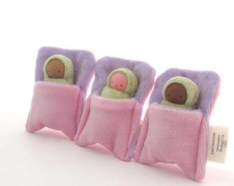 Green Swaddle Baby Doll // Waldorf Toy // Waldorf Doll // Pocket Doll // Doll with Bed // Blanket Doll // Cloth Doll // Vegan Doll