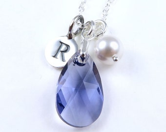 Personalized Tanzanite Necklace, Crystal Pear Necklace, Sterling Silver Initial, Teardrop Crystal Pendant, Tanzanite Jewelry, Purple Crystal