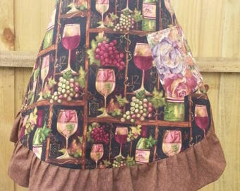 Women's Reversible Half Apron - Wine and Roses