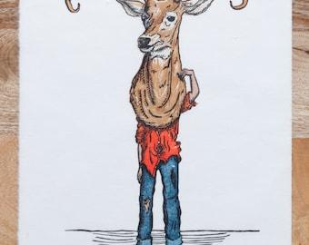 Limited Edition, Kids In Masks, Woodcut, Deer Boy, Printmaking, Handmade, Woodblock Print