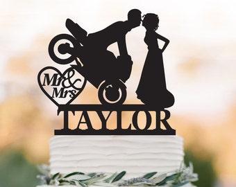 Mr And Mrs Wedding Cake topper motor,  personalized wedding cake topper name. unique wedding cake topper, heart decor