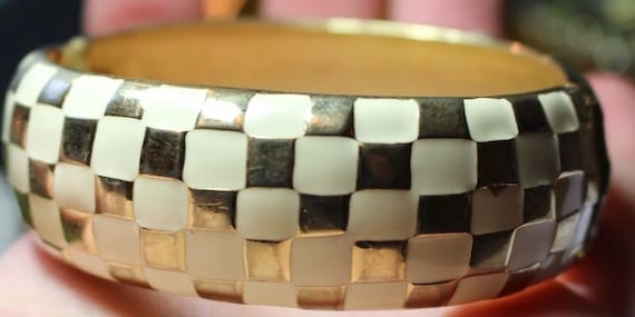 So Awesome Cream & Gold FastTimes checkered enameled clamper bracelet