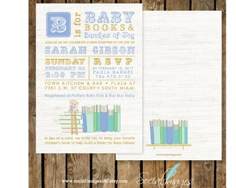 BooK BABY Shower / Book Themed Baby Shower / Book Shower / Storybook Shower /  INVITATION Printed or Digital/Printable File, 2665