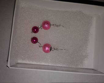 Pink handmade glass bead earings
