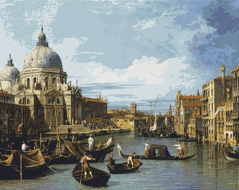 Canaletto -  The Grand Canal and the Church of the Salute - Counted Cross Stitch Kit - DMC materials