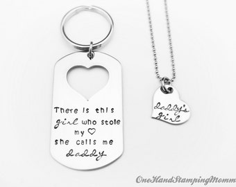 Father's Day Keychain - Daddy Daughter Necklace - Personalized Necklace - Personalized Keychain - Hand Stamped Necklace