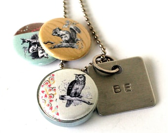 Stamped OWL Locket - Squirrel Deer Locket Necklace Eco Friendly Nature Woodland Girl Guy Gift BE Magnetic Jewelry - Upcycled by Polarity