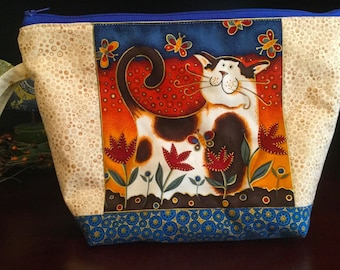 Zipper top knitting project bag, Spotty cat & butterflies