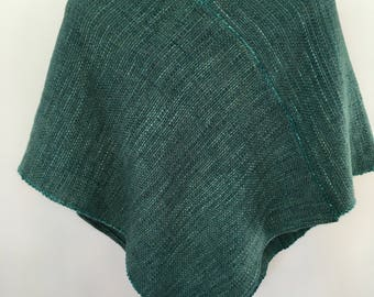 Woven Shades of Green Alpaca Poncho