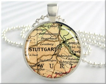 Stuttgart Map Pendant, Resin Charm, Stuttgart Germany Map Jewelry, Picture Necklace, Round Silver, Gift Under 20, Map Charm  (632RS)