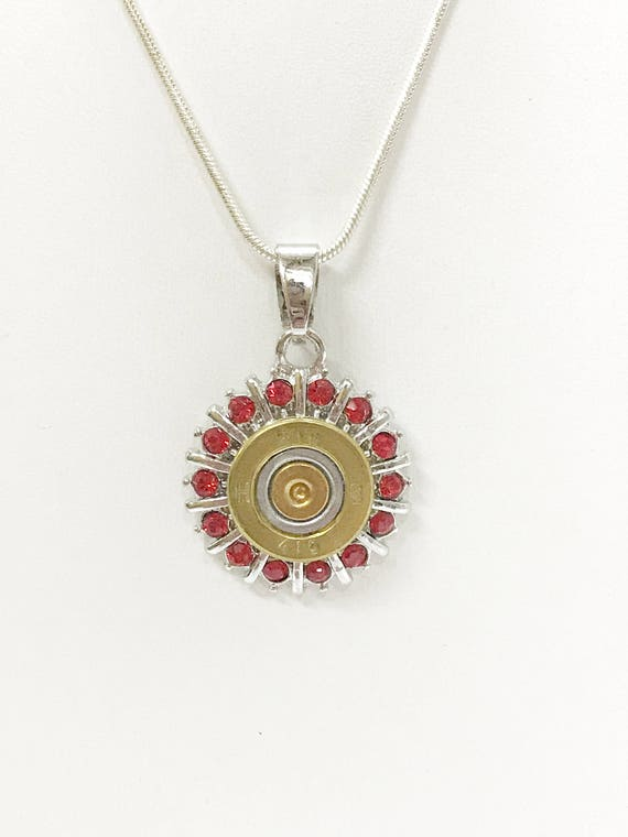 Red Crystal 410 Shotgun Shell Necklace, Southwestern Style Jewelry Gift for Her, Country Western Jewelry, Shooting Sports Gifts Jewelry
