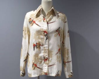 Vintage Button Front Blouse Womens Size 15 16 Cream Hummingbirds Thin Textured