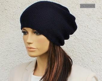 CAP / HAT Cashmere / Merino navy blue Slouch Cap