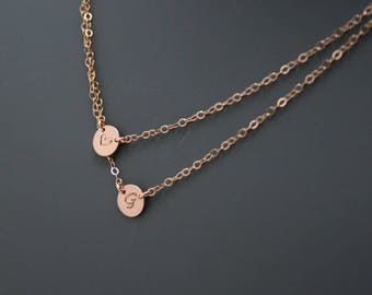Initial Choker Necklace, Dainty Personalized 2 Disc Necklace • 14k ROSE Gold Fill, Rose Gold Filled Disc