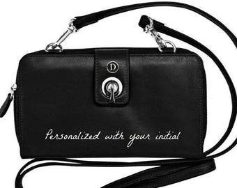 Personalized black IPhone 7 plus wallet with RFID blocking,  unique iPhone 6 plus wallet, cross body iPhone purse,  women's wallet