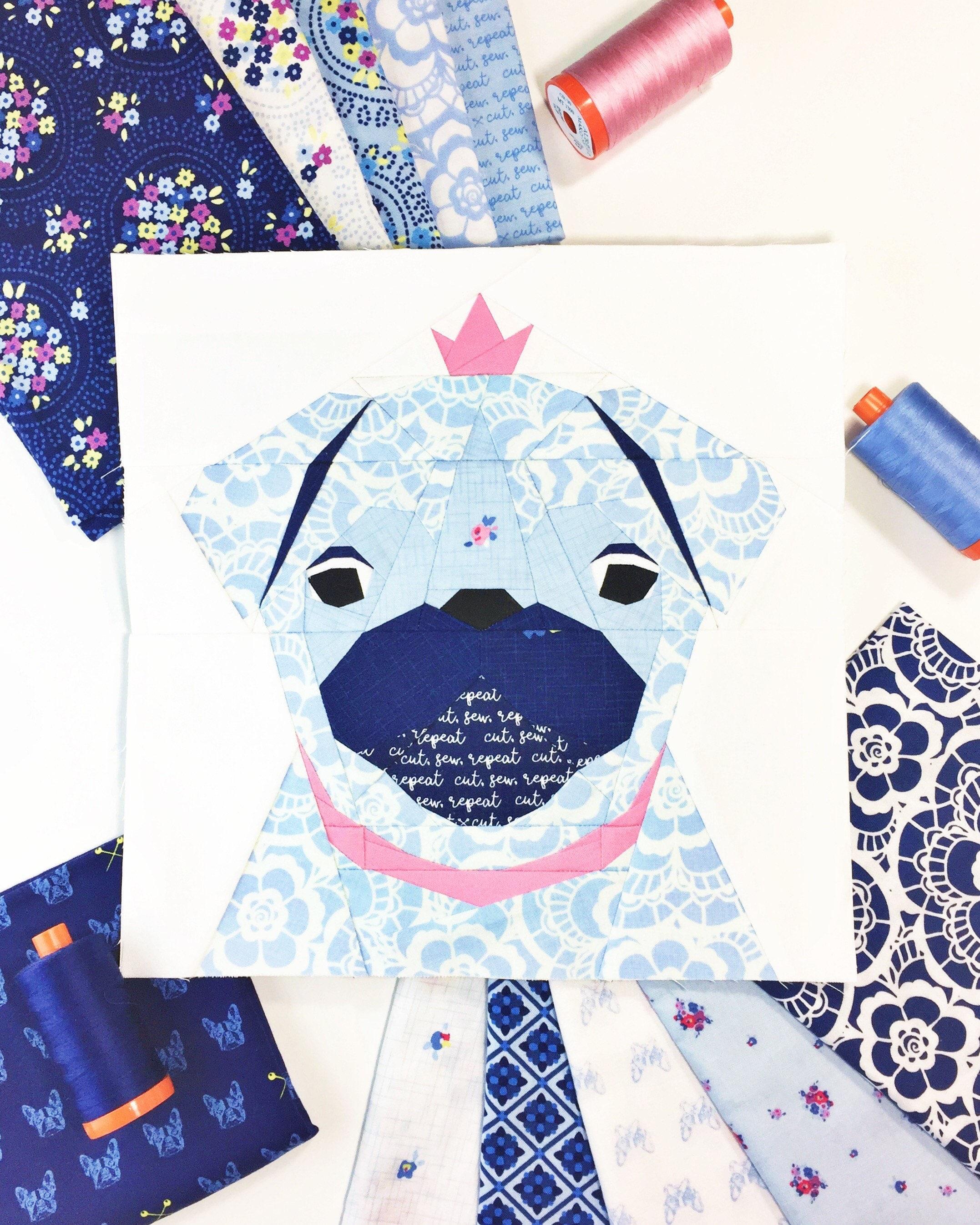 Pug Dog 23 Block PDF Paper Piecing Pattern 10 x