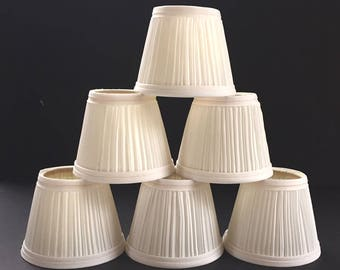 """6 White Chandelier Wall Sconce Clip-on Shades / 4"""" Clip-on Shade Patrick Dolan / Tapered Cloth Chandelier Shades"""