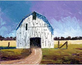Barn Painting landscape painting Acrylic PRINT Country building rural rustic farm impressionist GICLEE reproduction 8 x 10