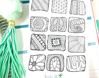 Coloring Stickers | Adult Coloring Page Stickers / Colouring Stickers for Erin Condren / Adult Coloring, Stress Stickers, Anxiety Stickers