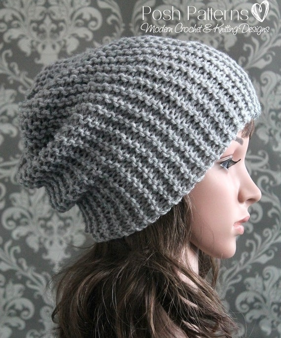 Knitting PATTERN Easy Beginner Knit Slouchy Hat Pattern