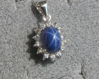 VINTAGE Signed LINDE LINDY 9x7mm Cornflower Blue Star Sapphire Created Halo Pendant ( No Chain ) Tarnish Resist Rhodium Plated .925 Strsilvr