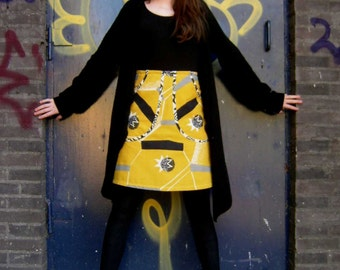 Atomic Era cotton skirt, A-line skirt, yellow skirt, big pockets, lined, abstract, yellow black white gray, ALL sizes