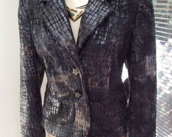 Vintage 80s faux reptile leather fur brown black blazer, size Small black brown fuzzy fur look fitted blazer jacket, reptile print blazer S