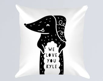 Personalized Dachshund Pillow, Name Pillow Black White Nursery Pillow, Dog Lover Gift , Doxie Decor, Baby Boy Gift, Baby Shower Gift Girl
