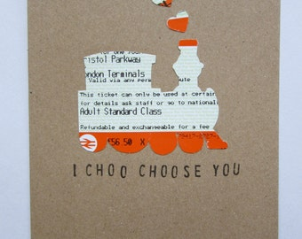 I Choo Choose You Train Ticket Greeting Card