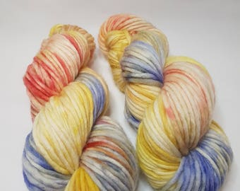 Hand dyed Merino yarn, Super Chunky weight, 200g, SUNRISE