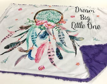 Purple Dream Big Little One Baby Girl Blanket. Baby MINKY Blanket, Dreamcatcher Baby Blanket, Ready to Ship Baby Girl Blanket, Baby Gift