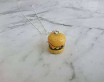 Burger Cheeseburger Hamburger necklace. Polymer clay charms handmade food miniature jewellery realistic