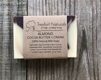 Almond Cocoa Butter + Cream Milk Soap - Handmade Cold Process Soap, All Natural, lightly scented soap