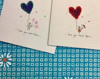 Mini People Love Cards - hand drawn with hand made felt heart embellishment