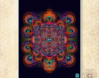 Mystery - prints ,a3 a4 a5 sizes.mandala,cosmic,spirals,red,visions,visionary,fesival